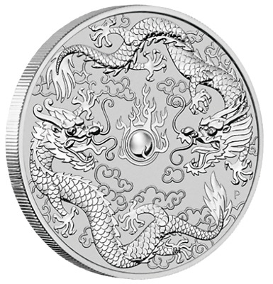1 oz 2019 Double Dragon .9999 Fine Silver Coin from Perth Mint (encapsulated)