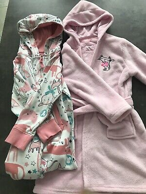 Girls Cats Hooded Jumpsuit / One Piece + Pink Bath Robe. NEXT. Age 5-6 Years.
