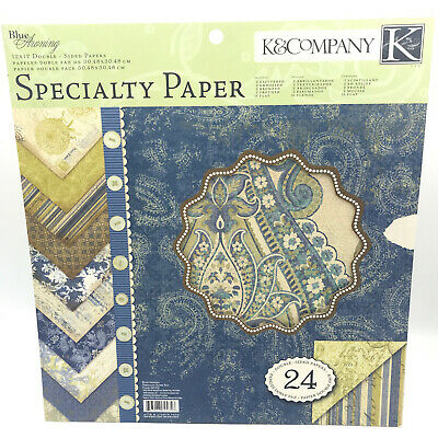 K&Company Specialty Paper Pack BLUE AWNING 24 Sheets Double Sided 12x12