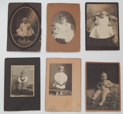 (Lot of 6) Antique Victorian Cabinet Card Studio Photos Babies Toddlers (AS IS)