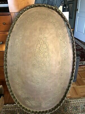 "Very Large 45"" Antique/Vtg Oval Solid Brass Embossed Tray Table Top Wall Plaque"