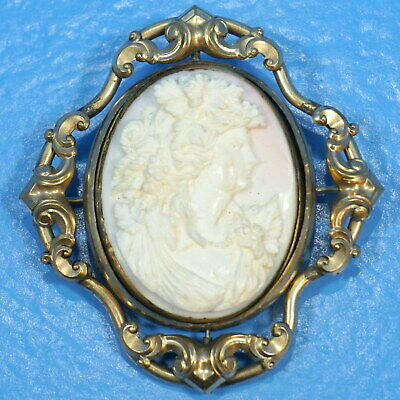 """2.75"""" Antique Victorian Shell CAMEO MOURNING BROOCH Woman Swivel Hair Gold Fill"""
