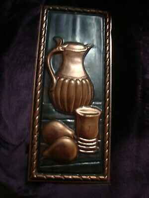 Collectors Embossed French Vintage Copper Plaque