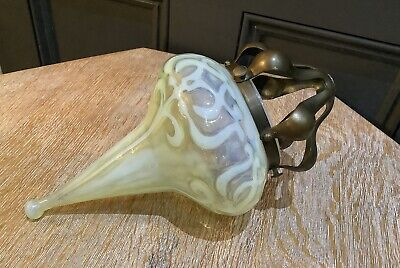 Arts & Crafts Art Nouveau Pendant Vaseline Glass Lamp Shade