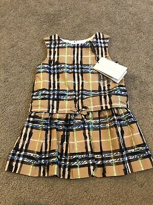 New With Tags Burberry Girls Dress Size 2 Years / 24 Months