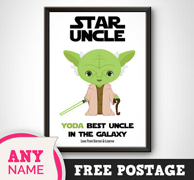 PERSONALISED Star Wars Print Gift YODA Best Uncle Brother Birthday Christmas