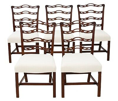 Antique quality set of 5 Georgian Revival C1900 mahogany dining chairs