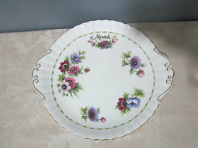 Vintage Royal Albert Flower of the Month March Anemones 10.25 inch Cake Plate