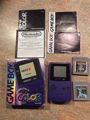 Gameboy Colour Grape Console Boxed With 2 Pokemon Games