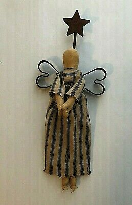 Primitive Folk Art Hand Made ANGEL with Metal Wings and Rusty Tin Star