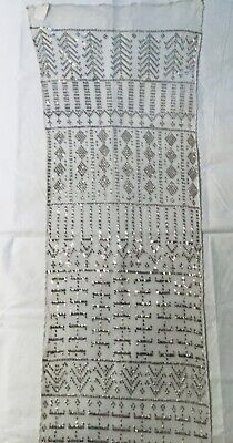 PERFECT Assuit ANTIQUE Assiut WHITE Silver Shawl Art Deco Egyptian Tulle 16x70