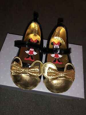 Minnie Mouse Black And Gold Infant Girls Shoes Size 5