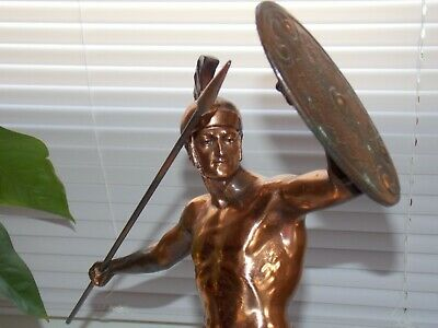 Ancient Greek Warrior Copper/Bronze ACHILLES Statue Spear & Shield Marble base