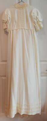 Ivory full length size 9 wedding dress with empire waist, floral lace trim, 1969