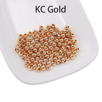 500pcs 2mm Round Spacer Beads Smooth Ball End Seed Bead Jewelry Making #Gold