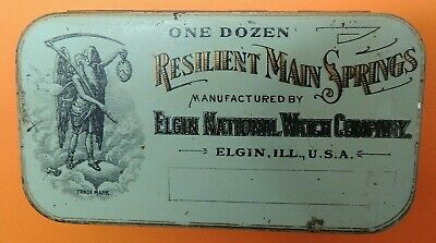 Genuine Vintage Elgin National Watch Company Resilient Main Springs Tin Case USA