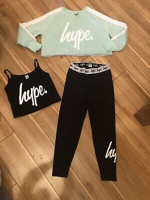 Hype Girls Leggings Cami And Crop Jumper Age 7-8 Years
