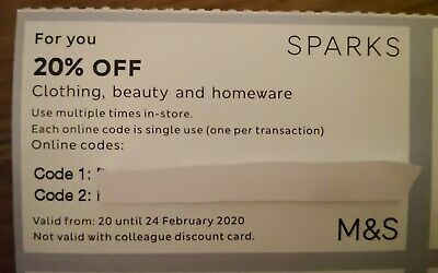 Marks And Spencer 20% Off Voucher. Valid 20-24th February