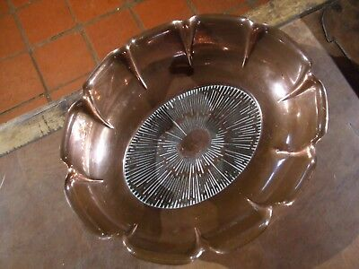 GENUINE ARTS & CRAFTS COPPER FLUTED OVAL BOWL marked JB&SB Joseph Sankey&sons