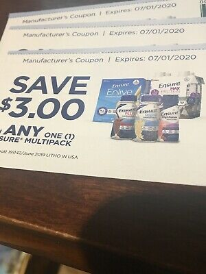 3 Coupons - Save $3 Off Ensure Multipack ( $9 value)  Exp 07/01/20