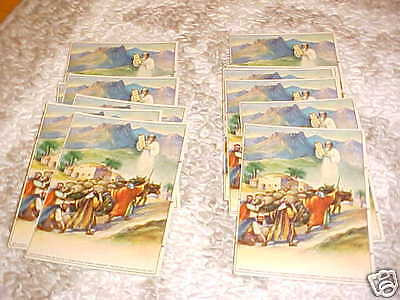 LOT of 14 VINTAGE 1926 BIBLE RELIGIOUS LITHOGRAPH CARDS~JESUS~LESSONS~MOSES~GOD~