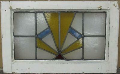 "OLD ENGLISH LEADED STAINED GLASS WINDOW Gorgeous Geometric Burst 22"" x 13.75"""