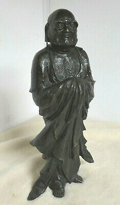 Antique Bronze Statue FARMER PEASANT ROBED MAN Japanese SIGNED #104