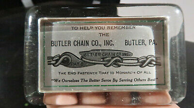 Butler Chain Co Butler Pa Glass Paperweight