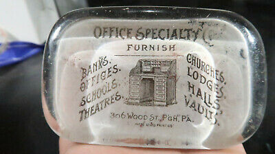 Office Supply Co Banks Schools Roll Top Desk Glass Paperweight Pitts Glass Print