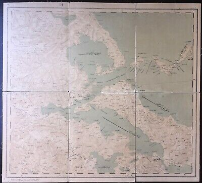Ottoman Map - Greece Island of Euboea Evvoia Athens 1882 52x48 cm Old Cloth Map