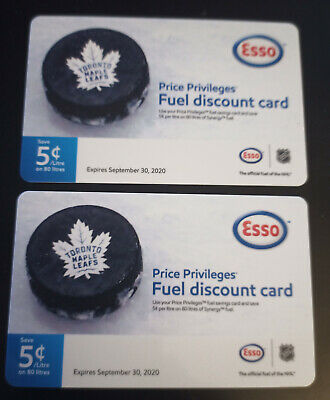 Two Esso gift certificates, good for 80 liters each. Toronto Maple Leafs.