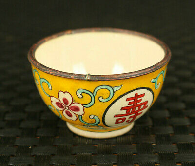 Chinese old cloisonne hand painting longevity statue tea cup bowl decoration