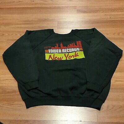 Vtg Tower Records New York Crewneck Sweatshirt Sweater Hanes Black Sz Xl