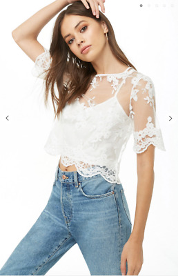 Vintage Style Ivory White Floral Embroidered Scalloped Crochet Lace Top NWT M