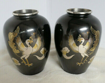 PAIR Antique Bronze Flower Vase PHEASANTS Kado Collectable Japanese Marked #12