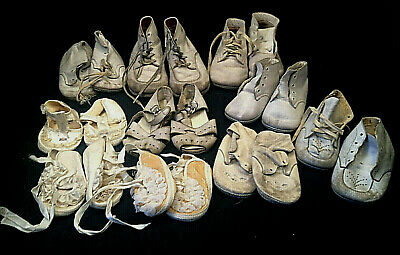 Lot 10 Pair Vintage Baby Toddler Shoes Leather Fabric Tie Buckle Button