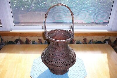 Vintage Asian Hand Woven Bamboo Basket--Large With Handle