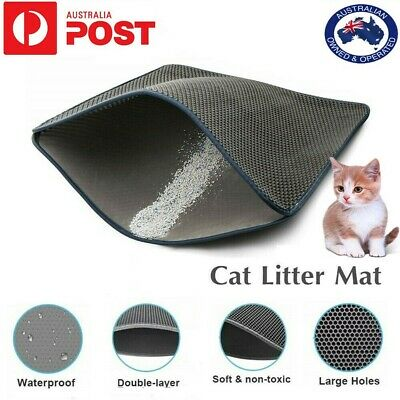Waterproof Double Layer Cat Litter Mat Large Kitty Litter Box Trapping Sifting