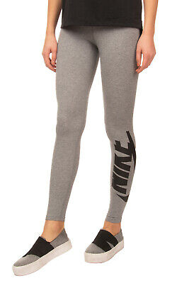 NIKE Leggings Size S Melange Effect Coated Logo Elasticated Waist