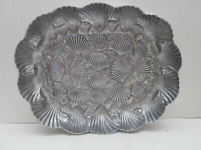 Arthur Court Pewter Rectangular Shell Bowl Serving Platter, 1990,Taiwan, Vintage