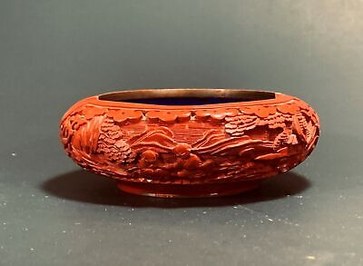 A Chinese Antique Hand Carved Cinnabar Brush Washer - Early 20th Century