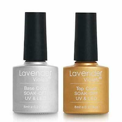 Lavender Violets Base Coat and No Wipe Top Coat Set Soak Off UV LED Gel