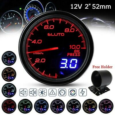 Oil Pressure Gauge Meter 10 Color LED Tinted Face Universal 2 Inch 52 mm