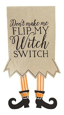 Mud Pie Dont Make Me Flip My Witch Switch Dangling Boots Fingertip Towel 23 Inch