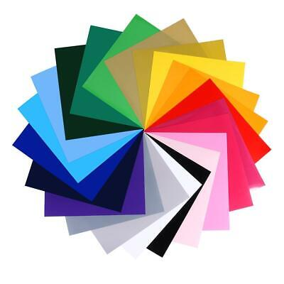 24pcs 12x12in Heat Transfer Vinyl Iron On HTV Sheets 22 Colors for T-Shirts TN2F