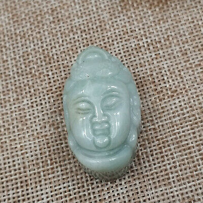 Chinese Hand-carved aristocratic wearing Jadeite jade pendant(jade Buddha head)