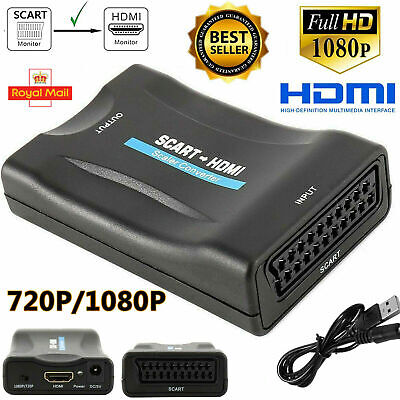 SCART To HDMI HD 1080P Video Audio Upscale Converter Adapter USB TV DVD SkyBox W