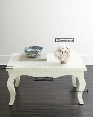 french leg floral pattern bone inlay coffee table in luxury white