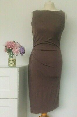 LK BENNETT Dress Size UK 10 Taupe BROWN | Wiggle Pencil Fitted Work Office Smart