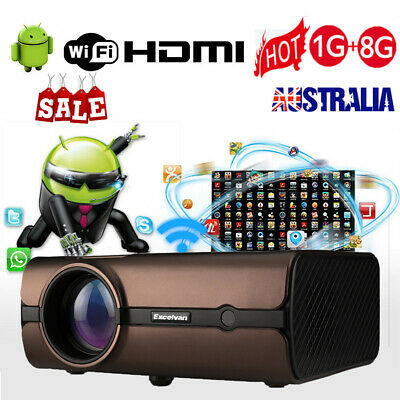 7000 Lumens 3D Projector Full HD 1080P LED Android Home Cinema Theater HDMI USB